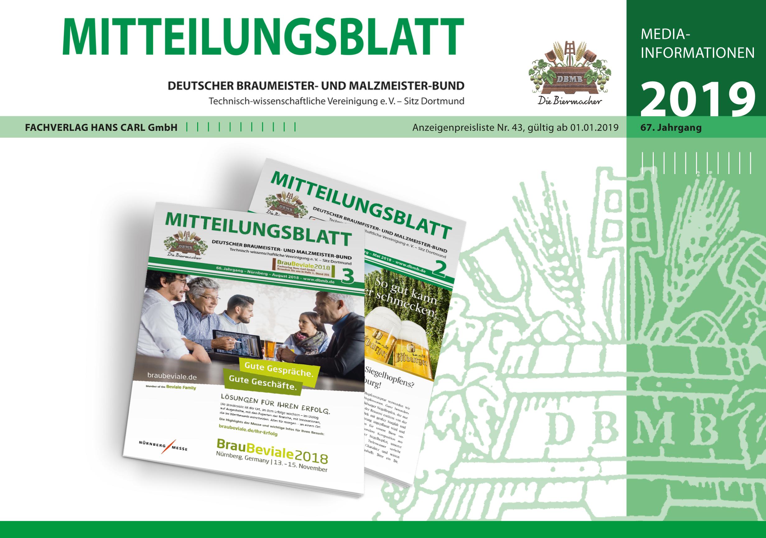 Mediadaten Mitteilungsblatt Deutscher Braumeister- und Malzmeister-Bund